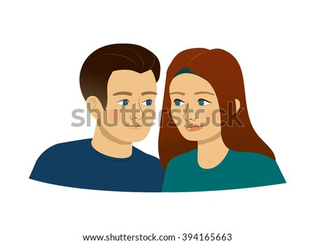 man and woman, boy and girl - young people, teenagers - loving couple or just friends, maybe twins - sister and brother, or a symbol of the zodiac sign - Gemini