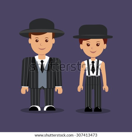Man and woman in gangster costumes. Vector illustration.