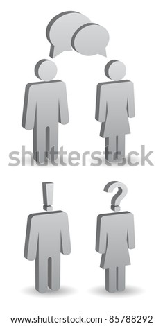 man and woman person icon set