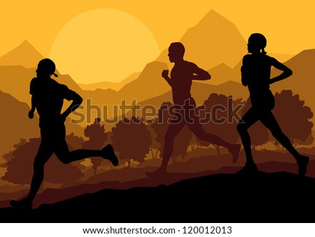 Man and women marathon runners in wild forest nature mountain landscape background illustration vector