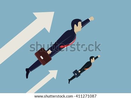 Man businessman flies forward. Seeks only forward, career, success. Vector illustration.