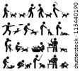 Man Dog Training Playing Pet Stick Figure Pictogram Icon - stock vector
