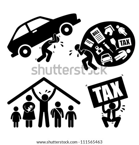 Man Family People Financial Problem Burden Stress Pressure Depression Icon Symbol Sign Pictogram