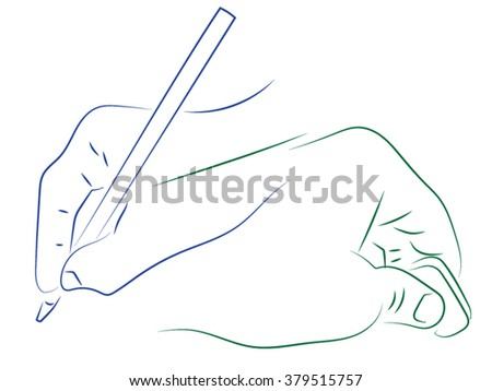 Man holding a rubber band and a pen