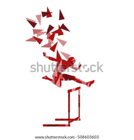 Man hurdles race male athlete competing vector abstract background illustration made of polygon fragments isolated on white