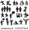 man icons (man symbol pictogram, happy family icon, father, mother, grandfather, children, old man, woman, parent together icon, wc icon, icon male and female, recycling sign, man and banner) - stock vector