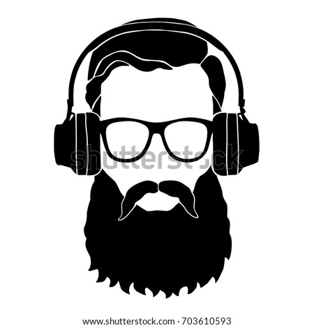 Bearded Man Sunglasses Headphones Stock Vector 422928649 Shutterstock