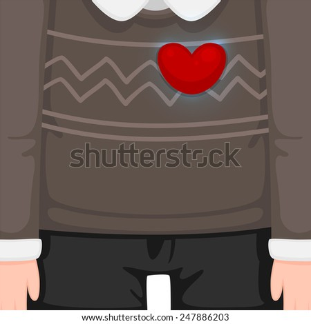 Man in sweater and heart, vector.