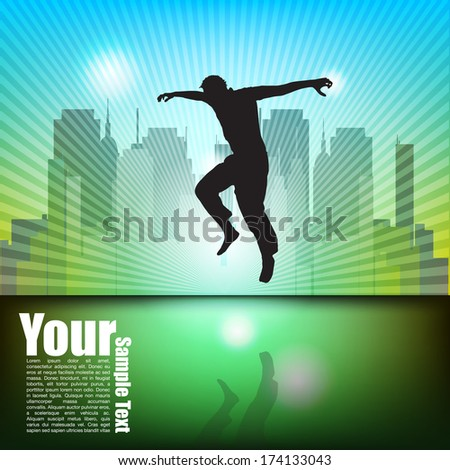 Man Jumping On City Background