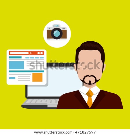 man laptop book document vector illustration design