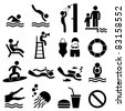 Man People Swimming Pool Sea Beach Sign Symbol Pictogram Icon - stock photo