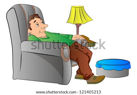 Lazy Person On Couch Cartoon Handsome Mature Men On...