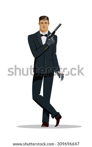 Man super agent. In a black suit with a pistol. Vector illustration