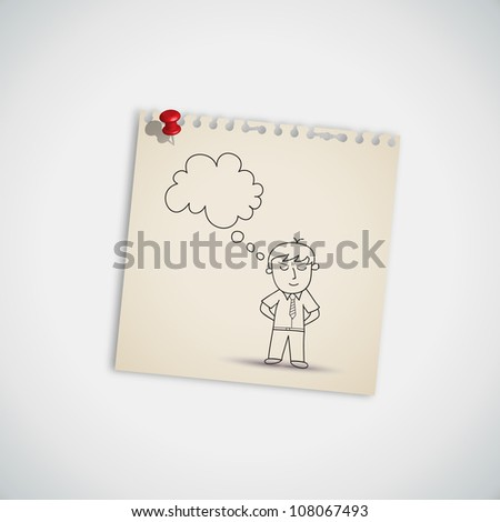 Man Thinking on Note Paper Vector