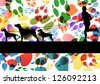 Man walking his dogs in colorful dog footprints illustration background vector - stock vector