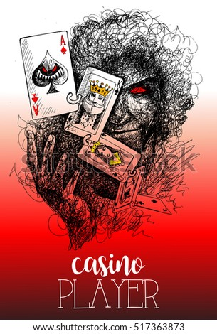 Man with poker cards gambling in casino with evil looks, Vector illustration. Casino gambling background. Casino design.