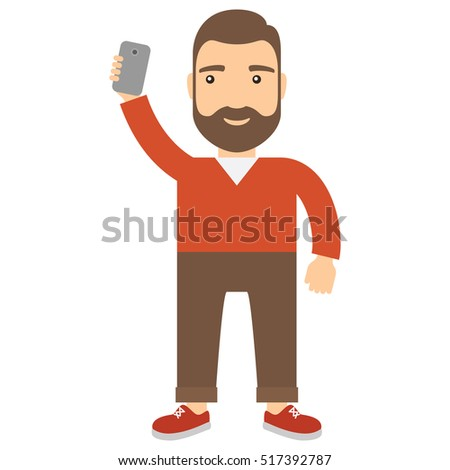 Man with smartphone makes selfie. Concept lifestyle flat cartoon vector icon.