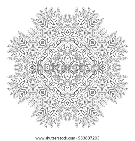antistress coloring pages for adults monochrome circular oriental pattern coloring book