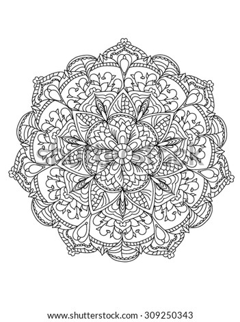 Handdrawn Henna Abstract Mandala Flowers Paisley Stock
