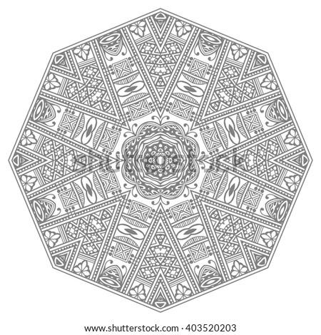 Simple Black Floral Orient Mandala On Stock Vector