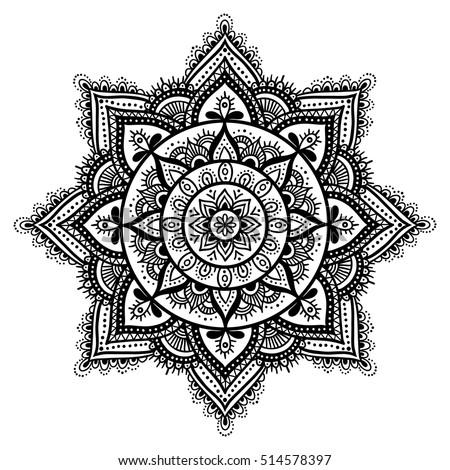 simple black indian mandala on white lager vektor 304528166 shutterstock. Black Bedroom Furniture Sets. Home Design Ideas