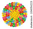 Mandala shape made with multicolor flip flops isolated over white background. Vector file layered for easy manipulation and custom coloring. - stock vector