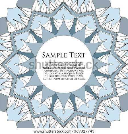 Mandala with decorative elements.Vector background. Card or invitation. Vintage decorative elements. Hand drawn