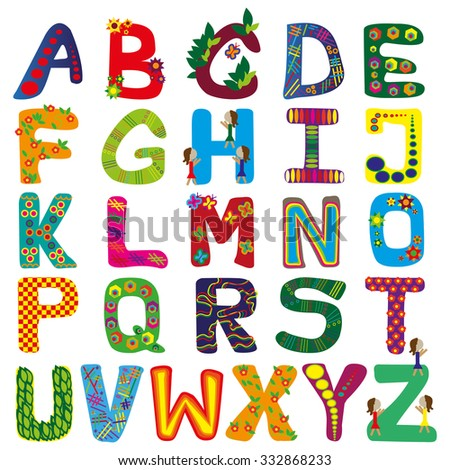 many colorful letters on white background