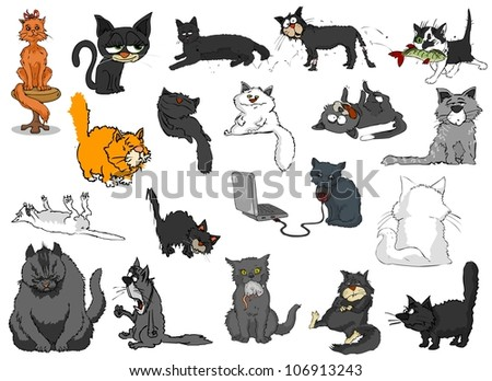 Many different cats on a white background