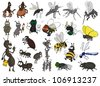 Many different insects on a white background - stock vector