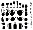 many different tableware silhouette vector - stock vector