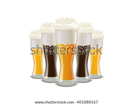 Many glasses of light and dark beer with foam isolated on white