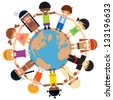 Many kids from different ethnicity holding their hands around the world - stock vector
