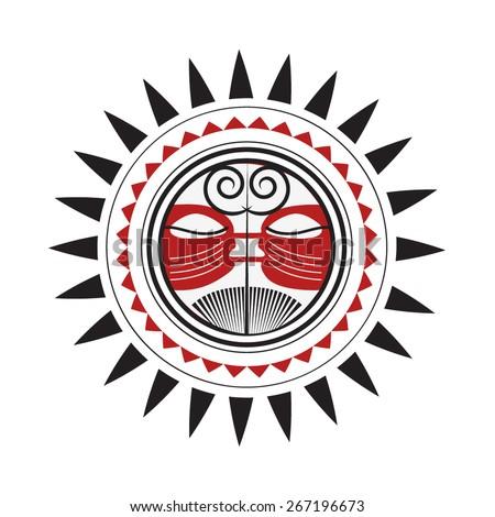 Taino Sun Tribal Vector Illustration Stock