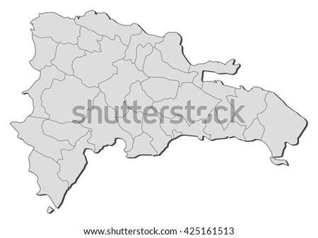 Dominican Republic Blue Map Vector Stock Vector - Dominican republic map vector