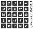 Map icons with dark buttons in background - stock vector
