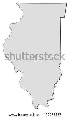 Illinois Usa Outline Map Shadow Detailed Stock Illustration - United states map illinois