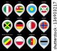 Map marker with flag-set seventh. In this set icons, I drawed these flags: Republic of the Congo, Bahrain, Burundi, Botswana, Palau, Togo, Jamaica, Norway, Cameroon, Italy, Poland, Germany - stock photo