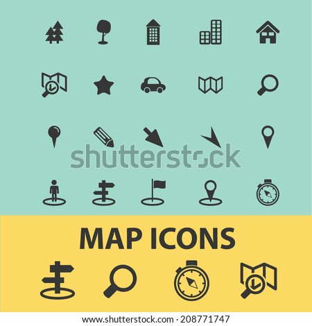 Map Navigation Route Road Icons Signs Stock Vector. Bon Appetit Signs Of Stroke. Washi Stickers. Pencil Signs Of Stroke. House North Banners. Mri Signs. Modern Logo. Balloon Stickers. Adwords Banners