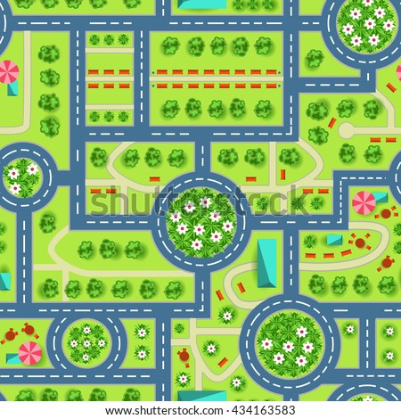 Map Top View City Road Trees Stock Vector Shutterstock - Kids road map