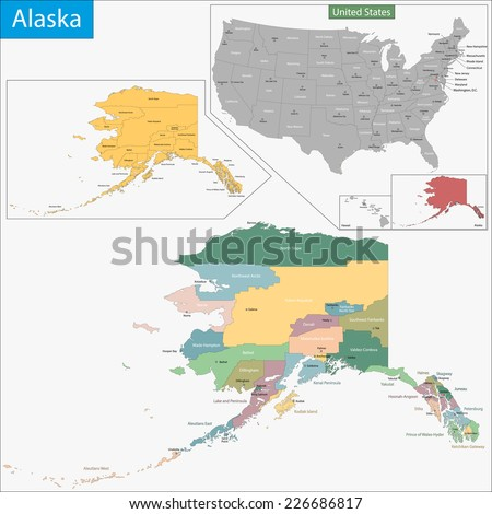 Map Virginia State Designed Illustration Counties Stock Vector - Alaska county map