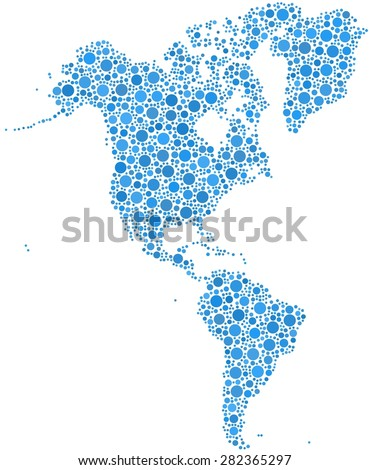 Map of America in a mosaic of blue bubbles
