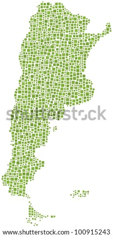 Map of Argentina (Latin America) in a mosaic of green squares. A number of 1601 little squares are accurately inserted into the mosaic. White background.