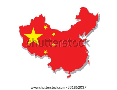 Map of China with national flag isolated on white background. vector