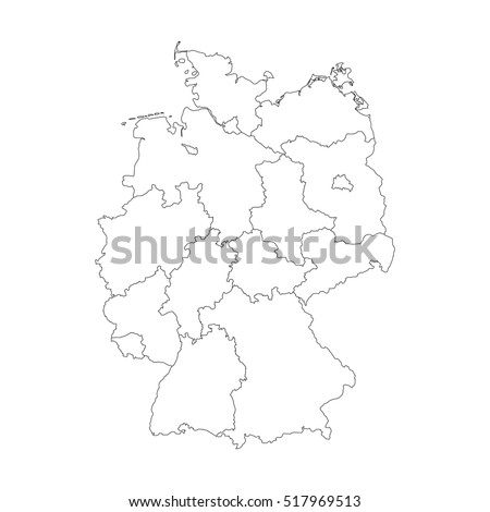 Map Germany Devided Federal States Stock Vector - Germany map simple
