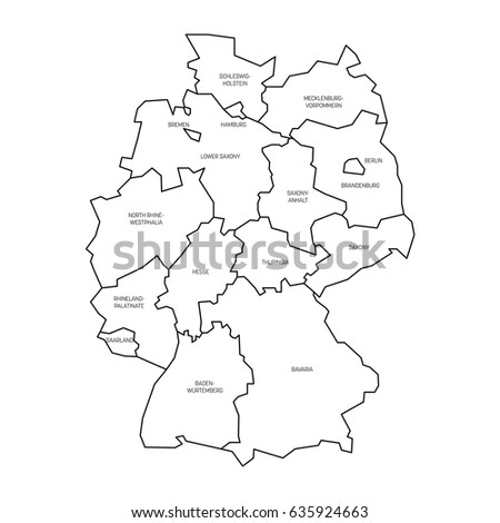 Map Germany Devided Federal States Stock Vector - Germany map drawing