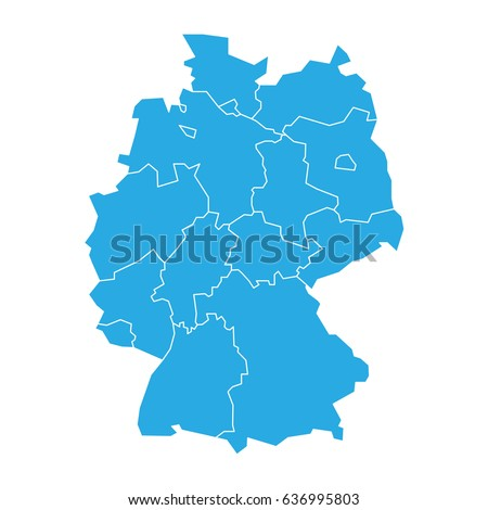 Map Germany Devided Federal States Stock Vector - Germany map federal states