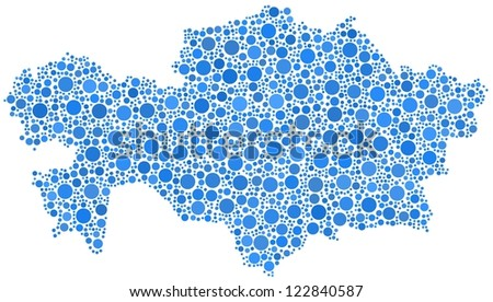 Map of Kazakhstan - Asia - in a mosaic of blue bubbles. A number of 2223 little bubbles are accurately inserted into the mosaic. White background.