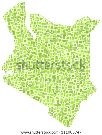 Map of Kenya - Africa - in a mosaic of green squares. A number of 2375 little squares are accurately inserted into the mosaic. White background.