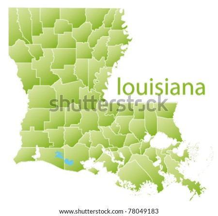 Vector Map Louisiana State Usa Stock Vector Shutterstock - Louisiana map usa